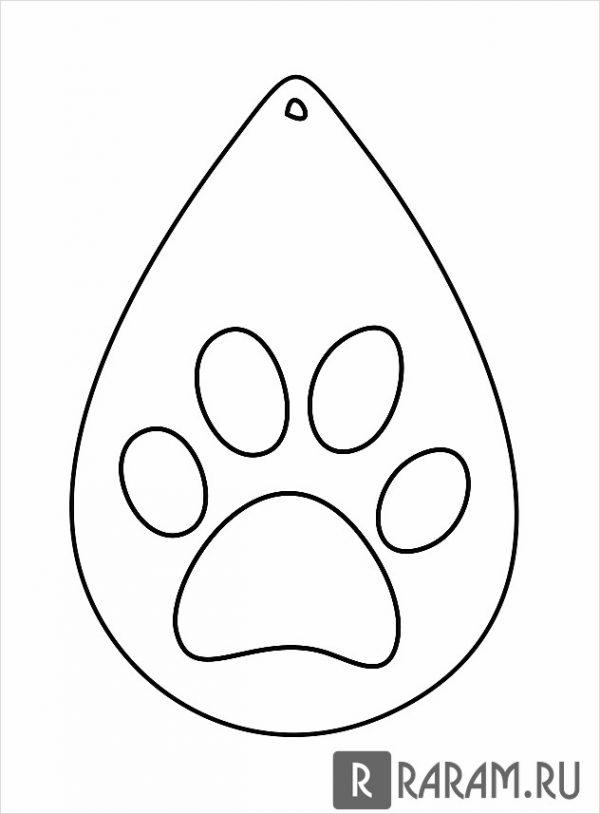 Серьги с отпечатком лапы кошки