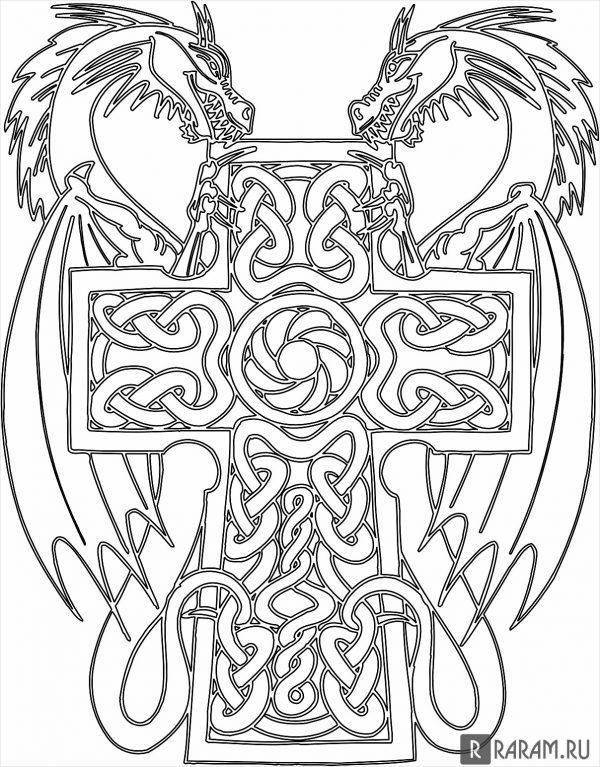 Пара драконов на кресте