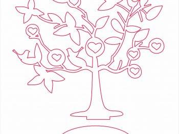 Дерево, птицы и сердца