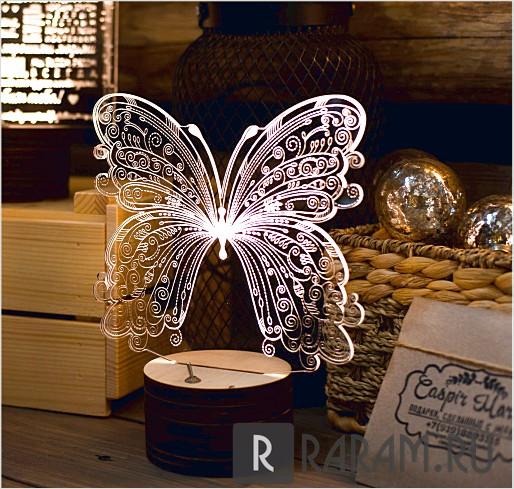 Акриловая лампа с бабочкой