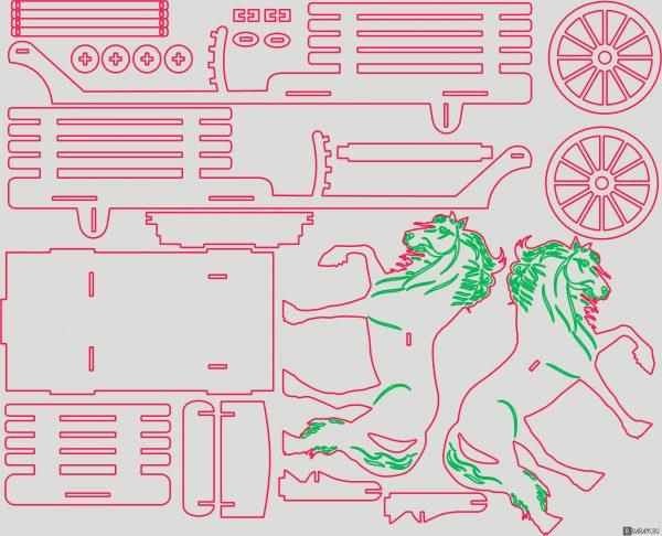 Телега с лошадьми
