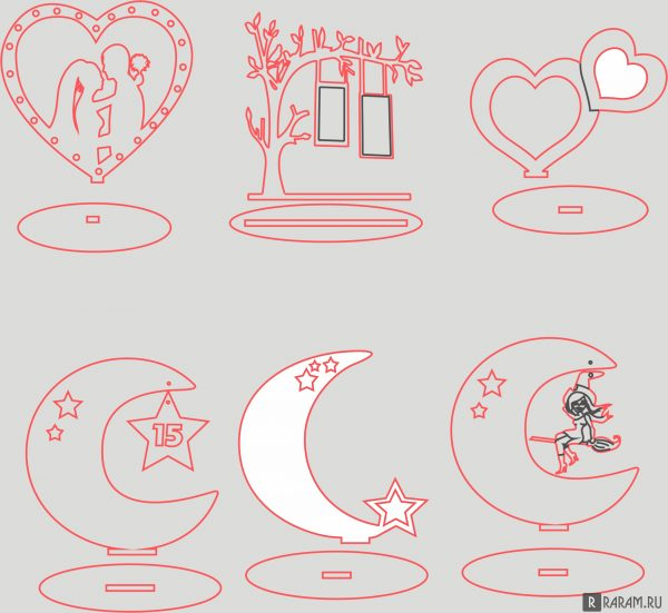 Сердца и луны на подставке