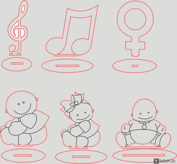 Младенцы и музыкальные ноты на подставке