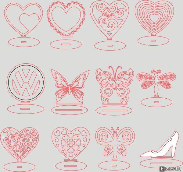 Сердечки и бабочки на подставке