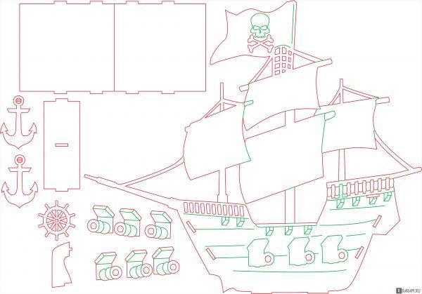 Пиратский корабль с пушками и якорем