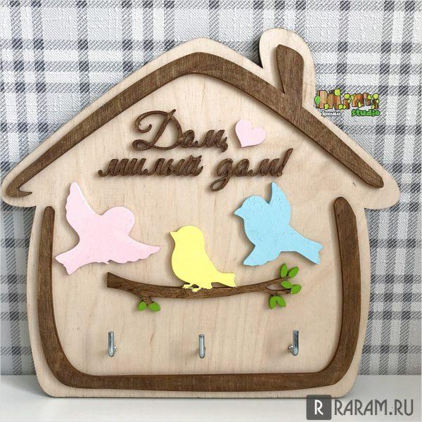 Ключница на стену с птицами