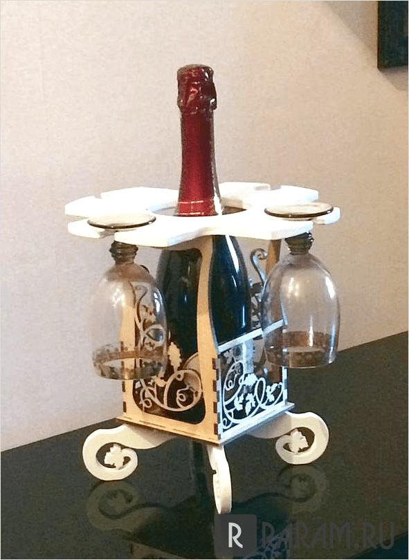 Подставка для винной бутылки и бокалов