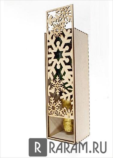 Коробка для шампанского со снежинками