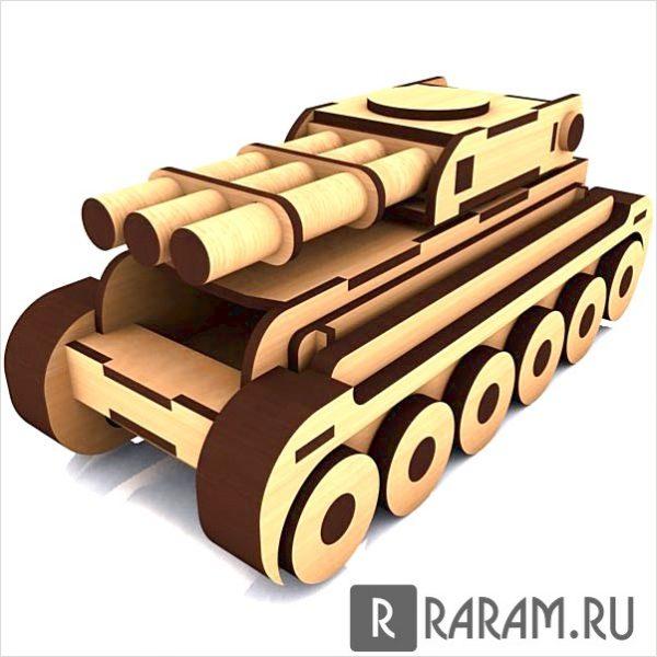 Сборный танк с 3 стволами
