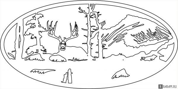 Ажурный овал с фигуркой оленя