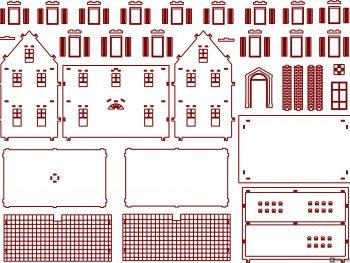 Здание с прямоугольными окнами